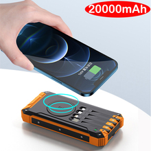 20000mAh Wireless Solar Power Bank for iPhone 12 Samsung S20 Poverbank Built in Cable Fast Charger Powerbank with LED Flashlight