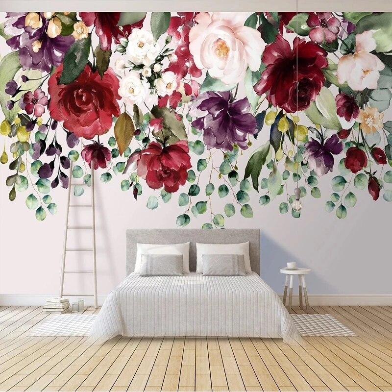 Самоклеящиеся обои на заказ, 3D фотообои с изображением растений, цветов, гостиной, спальни, романтического домашнего декора, водонепроницае...