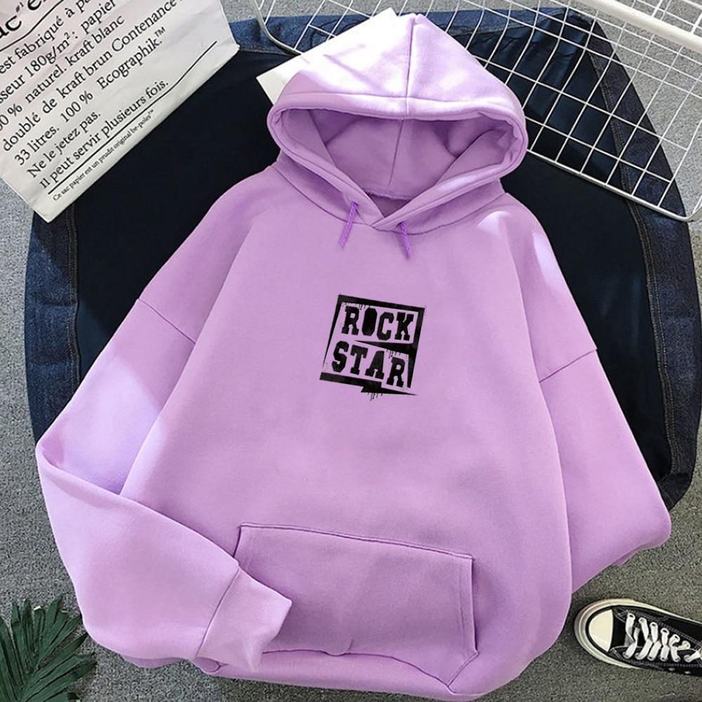 Fashion Simple Streetwear Rock Star Letter Print Black Harajuku Hoodies Women Punk Sweatshirt Winter Korean Style Hoody Girl