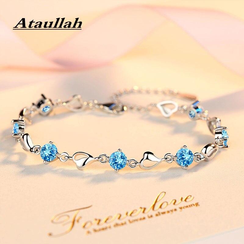 Ataullah luxe Simulation saphir Bracelet en argent Sterling 925 bijoux Bracelets pierres précieuses Bracelet pour femme fête cadeau BW039