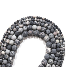 1strand Natural Stone Matte Black Web Jaspers Stone Beads Minerals Loose Beads  for Jewelry Making Diy Bracelet Necklace