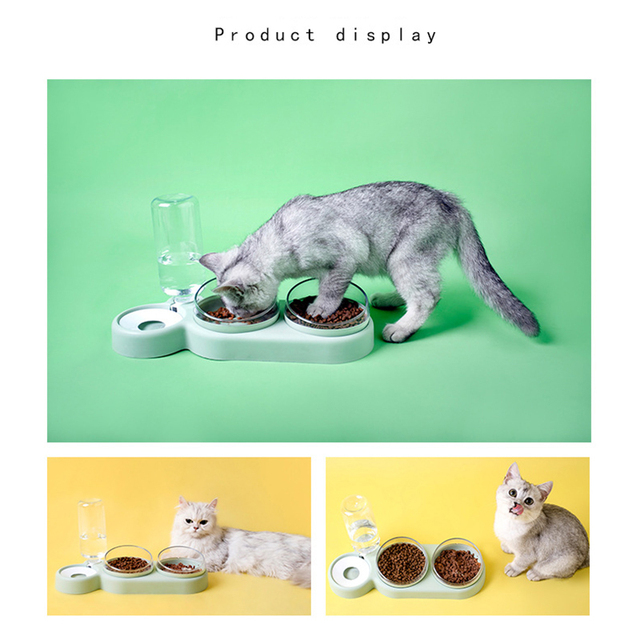 Pet Bowl Cat Double Bowls Automatic Water Container Food Dispenser Cat Feeder Food Bowls Drinking Raised Stand Dish for Cat Dog 4