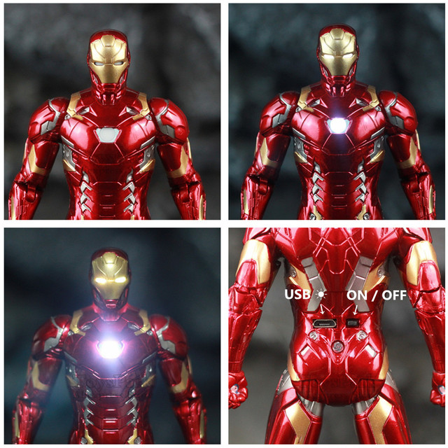 Avengers Civil War Iron Man Mark 43 Action Figure with Lights 6inch 6