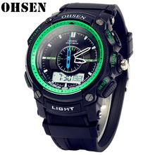 Relojes Hombre OHSEN nowe zegarki męskie luksusowe marki wielofunkcyjne męskie sportowe zegarki cyfrowe wodoodporne mody zegarek kwarcowy mężczyzn tanie tanio 25 5cm QUARTZ Podwójny Wyświetlacz Cyfrowy 3Bar Klamra CN (pochodzenie) Z tworzywa sztucznego 17mm Szkło Kwarcowe Zegarki Na Rękę