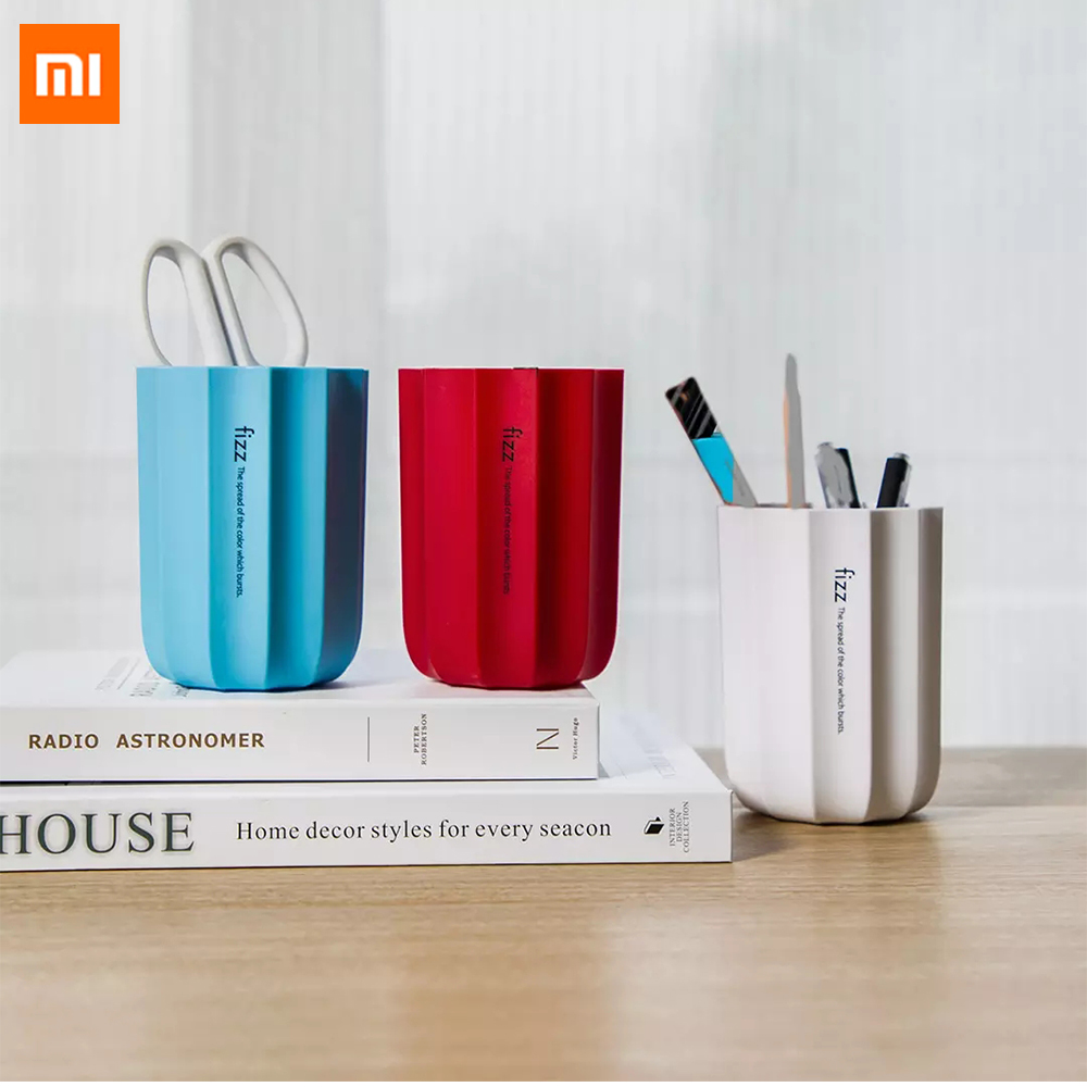 Xiaomi Mijia Fizz Pen Container Simple Shape Rubber Stationery Storage Box Pens Holder For Gift Kids Business Office Home