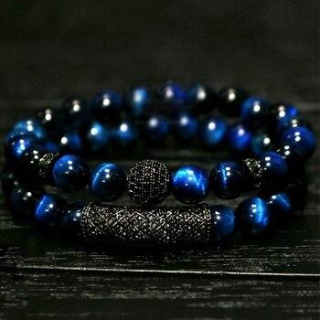 Новинка 2021, роскошные мужские комплекты браслетов 2 шт./компл., натуральный синий тигровый глаз, браслет с бусинами для Мужчин, Ювелирные изделия, подарок, мужские браслеты