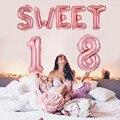 9 stücke 16inch Gold Süße 18 Luftballons 18th Geburtstag Ballon Mädchen Glücklich Geburtstag Dekoration Anzahl 18 Digitale Brief Banner ballon