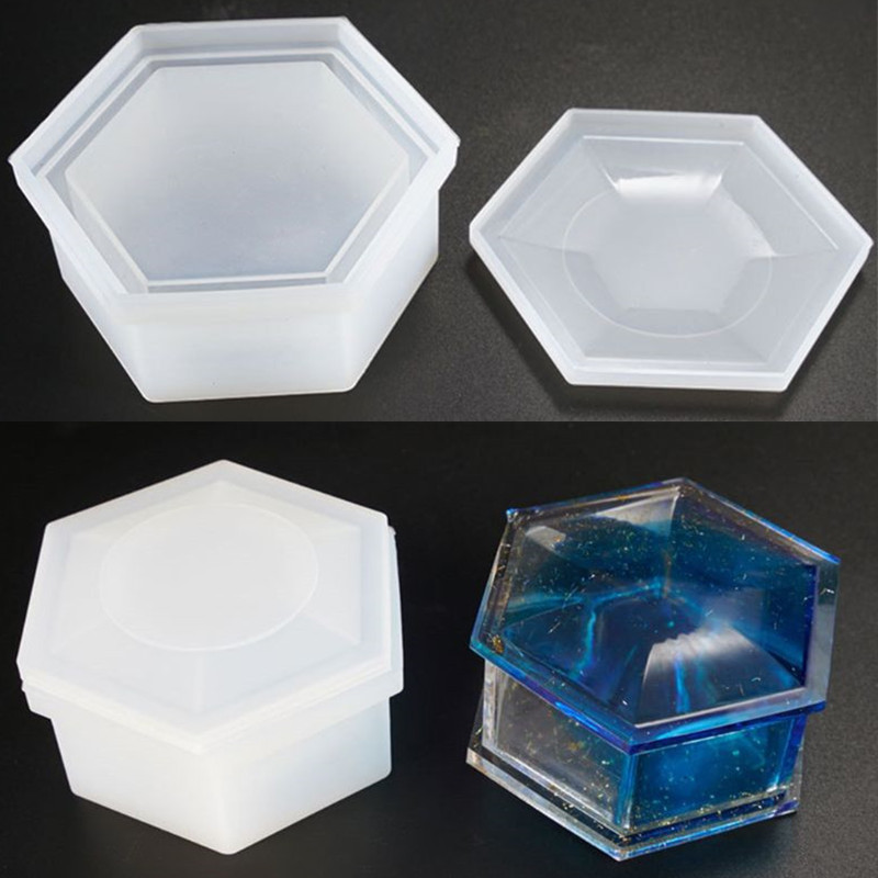 DIY Hexagon Storage Box Mold Crystal Epoxy Plum-shaped Silicone Mold Epoxy Resin Molds Jewelry Tools