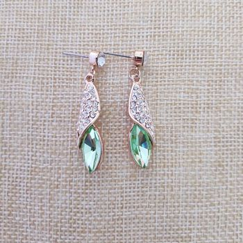QiLeSen Fine jewelry 925 sterling silver suitable for ladies wedding earrings, Desert Light Gold Green earrings YW097 image