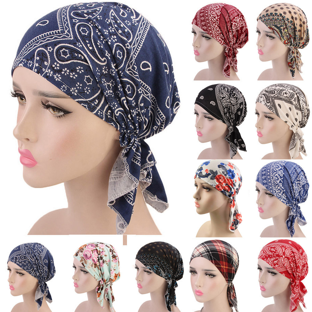 Women Ruffle Ethnic Style Hat Beanie Scarf Turban Head Wrap Cap Print Indian Hat Baotou Hat Chemo Hat Turban Bandanas Helisopus