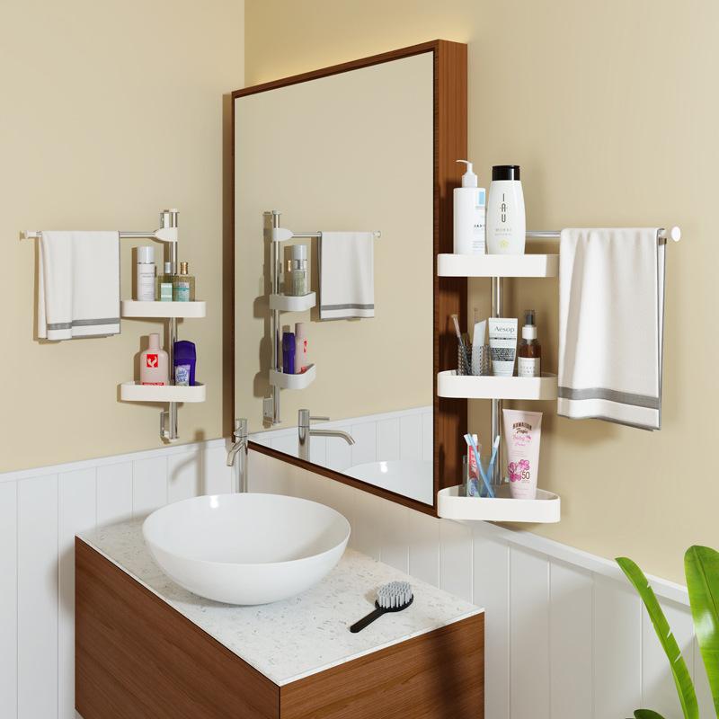Hole-Punched Bathroom Storage Shelf Wall Hangers Bathroom Toilet Bathroom Sanitary Ware Tripod Corner Washbasin Storage