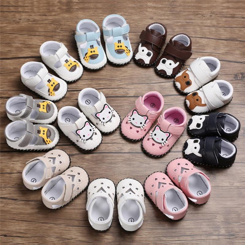 Sneaker Shoe Crib Baby-Girls Buckle Prewalker Soft-Sole Animal-Pattern 0-18M Antislip