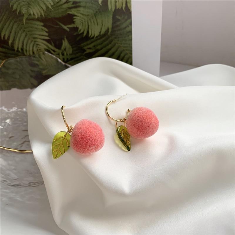 Fashionable sweet peach earrings temperament contracted fruit series stud earrings women stud earrings jewelry accessories