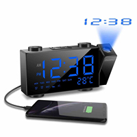 LED FM Radio Alarm Clock Digital Time Projection Desk Clock Snooze Function Temperature Display USB Charge Backlight Table Clock