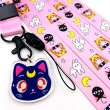 Cartoon Sailor Moon Mobile Phone Portable Long Lanyard Hand Rope for Keys Luna Cat Keychain Wrist Strap Keyring