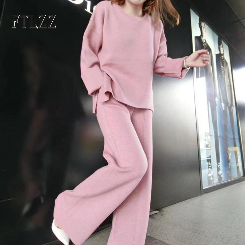 Fashion Women Casual Knit 2 Pcs Sets 2019 Autumn New Woman Knitted Long Sleeves O-neck Pullover Tops+high Waist Wide Leg Pants