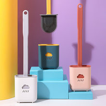 Escova de toalete de silicone escova de toalete de canto morto escova de limpeza higiênico gap escova de punho longo escova de toalete com suporte de escova de toalete