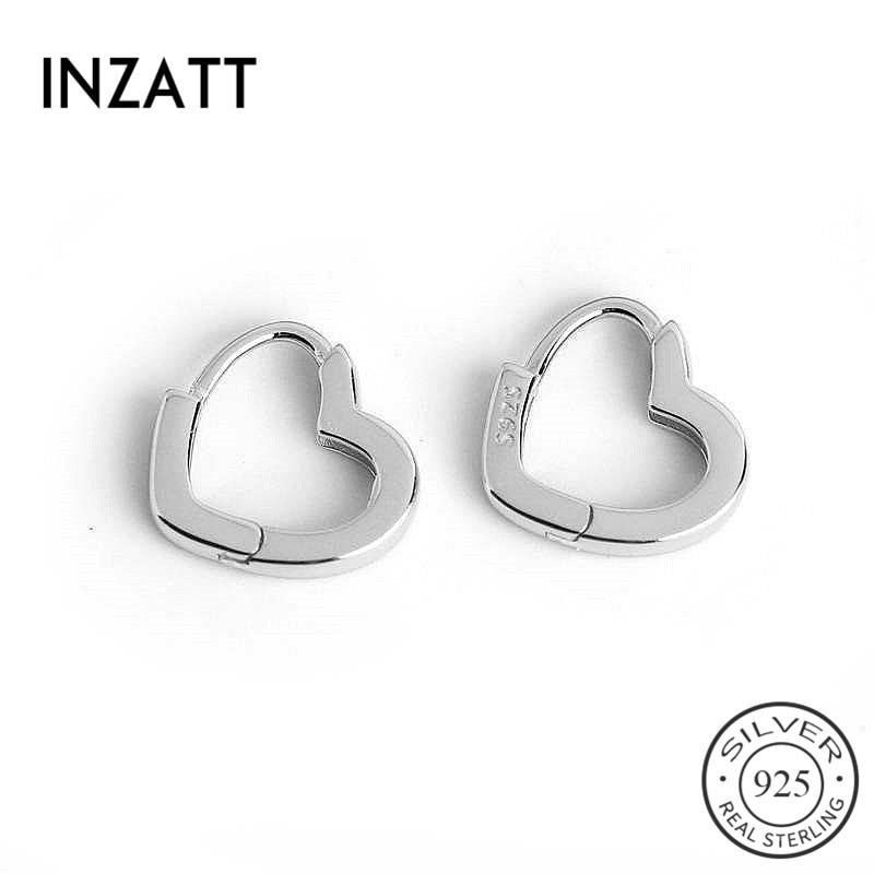 INZATT Real 925 Sterling Silver Minimalist Heart Hoop Earrings For Fashion Women Party Fine Jewelry Cute Geometry Accessories