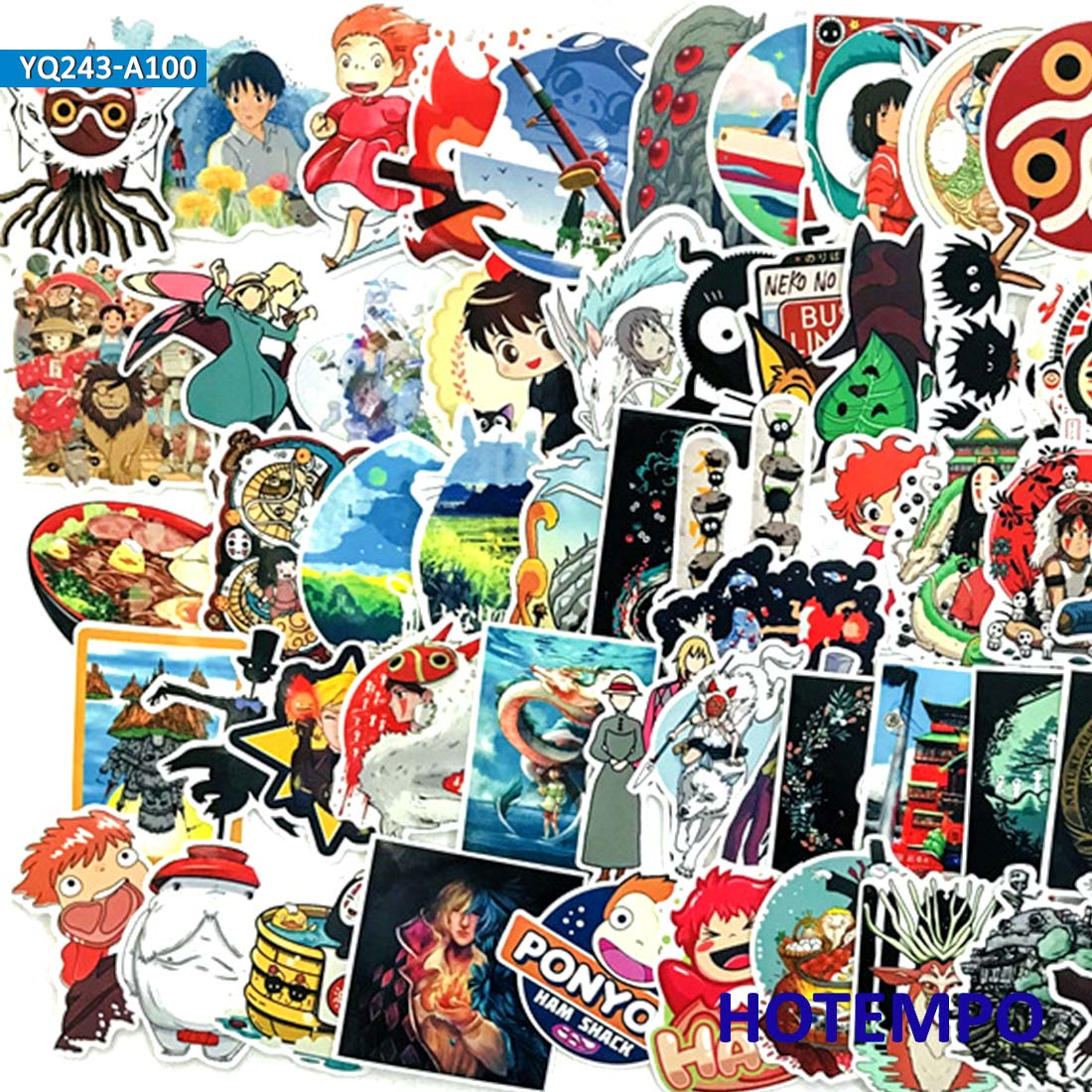 100pcs Manga Miyazaki Hayao classic Anime Stickers for Mobile Phone Laptop Luggage Suitcase Guitar Skateboard Decal Stickers in Stickers from Toys Hobbies