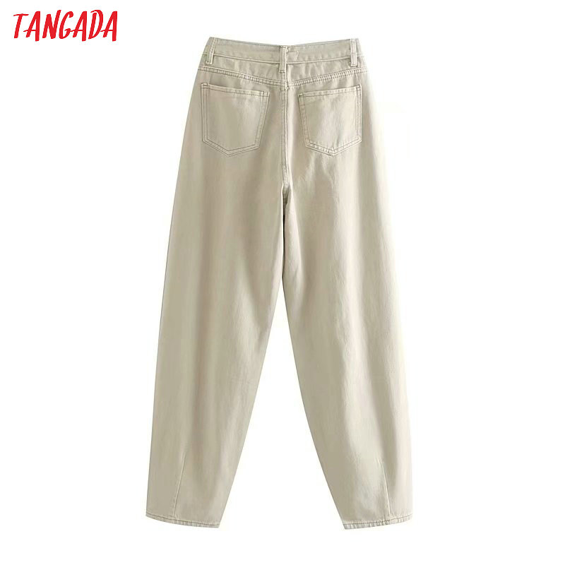 Tangada fashion women loose mom jeans long trousers pockets zipper loose streetwear female pants 4M58 28