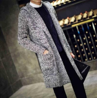 Autumn Men Thermal Long Sweaters Korean Style Thick Knitted Cardigans Fashion Mens Oversized Hooded Coat