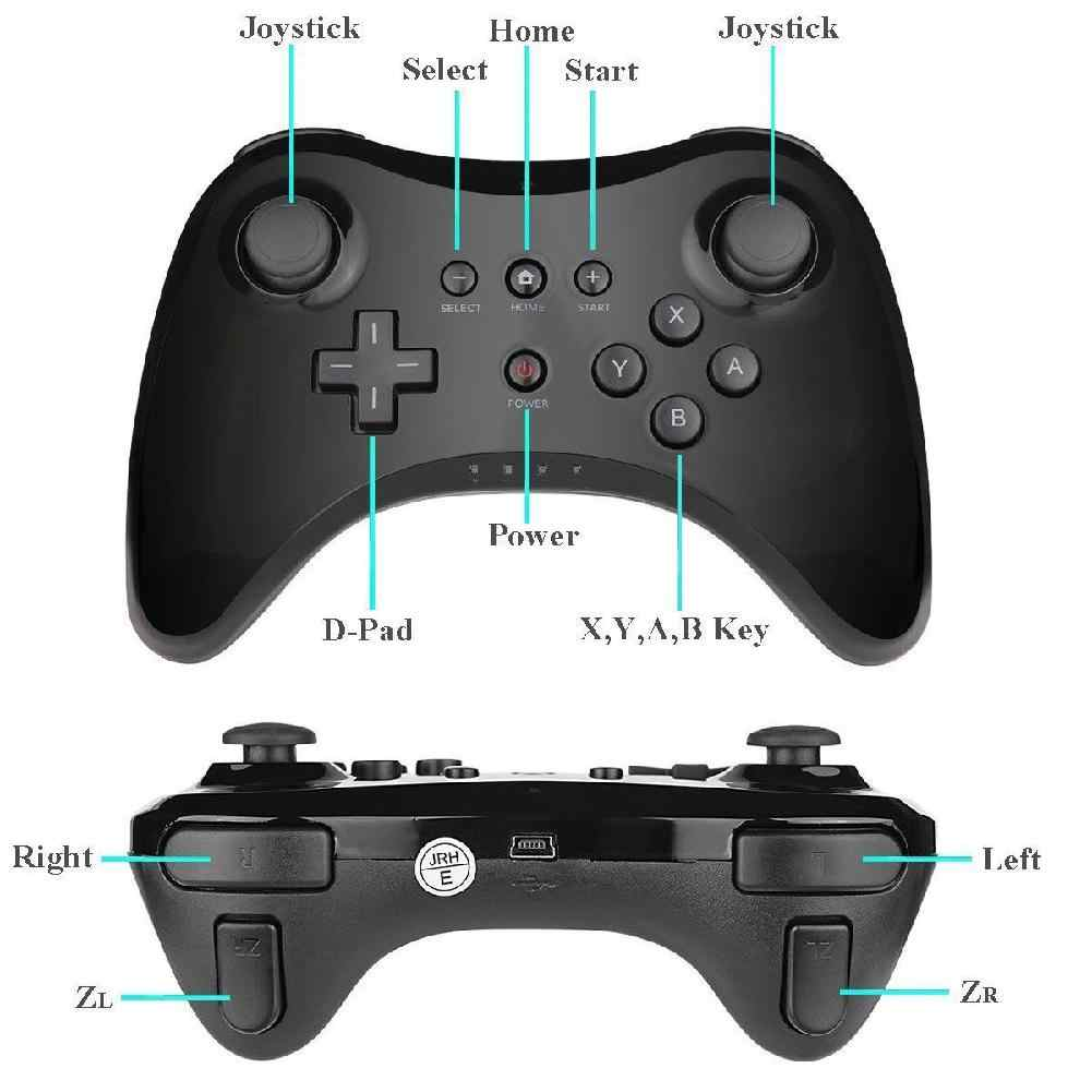 ワイヤレスクラシック · プロコントローラージョイスティックゲームパッド nintend wii u プロ usb ケーブルワイヤレスコントローラ r60