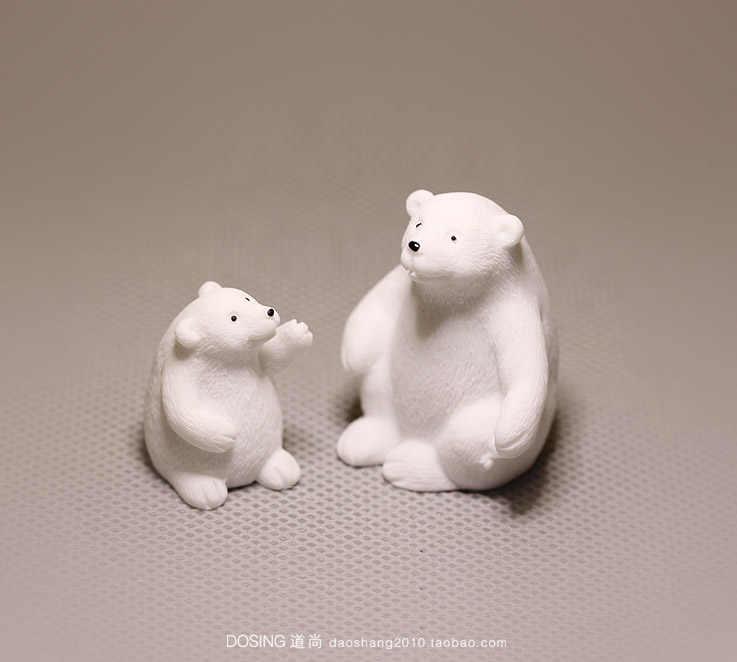 ミニチュアシミュレーション野生動物モデルかわいいホッキョクグマグッズ置物ベビー白クマアクションフィギュアおもちゃの人形の家の装飾