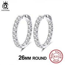 ORSA JEWELS Luxury 925 Full Zircon Hoop Earrings For Women 26 MM Sterling Silver Round Earrings Hyperbole Fashion Jewelry SE220