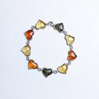 European imports Baltic natural amber multi treasure bracelet 925 silver inlay fashion simple atmosphere