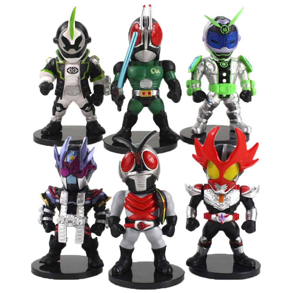Экшн-фигурка Kamen Rider из ПВХ с аниме-масками, 6 шт./компл., Игрушечная модель Q Ver. Мини кукла подарок для детей
