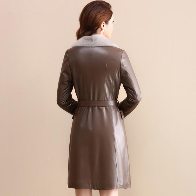 Jacket Leather Genuine Winter Jacket Women Mink Fur Collar Down Jackets For Women Real Sheepskin Coat Chaqueta Mujer MY S
