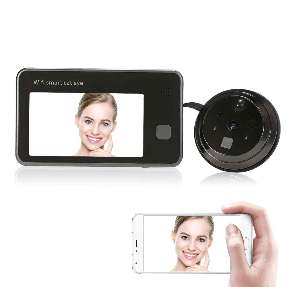 "720P Wifi Visuele Intercom Deurtelefoon 4.3 ""Monitor Draadloze 2-Weg Audio Video Digitale Kijkgaatje Deur Kijker deur Eye Deurbel"