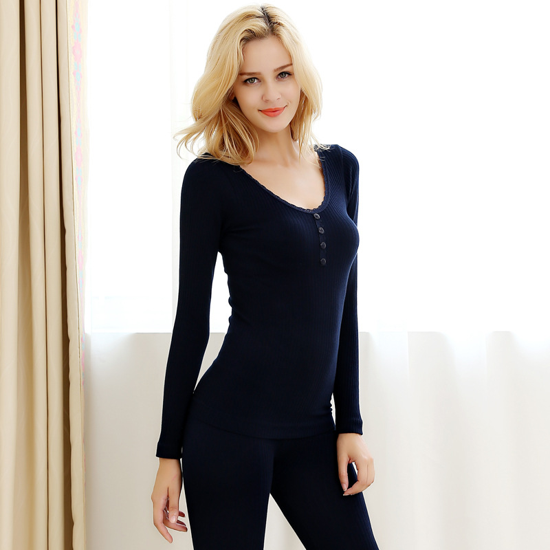 Lace Collar Four Buttons Thermal Underwear For Women Winter Warm Slimming Underwear Second Thermal Female Skin Women's Pajamas