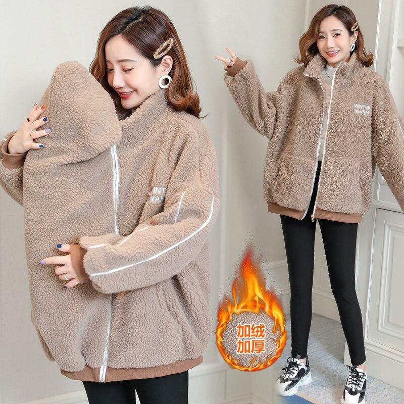 8835# Autumn Winter Camo Fleece Maternity Coats Baby Carrier Jacket Clothes For Pregnant Women Korean Fashion Pregnnancy Scarf