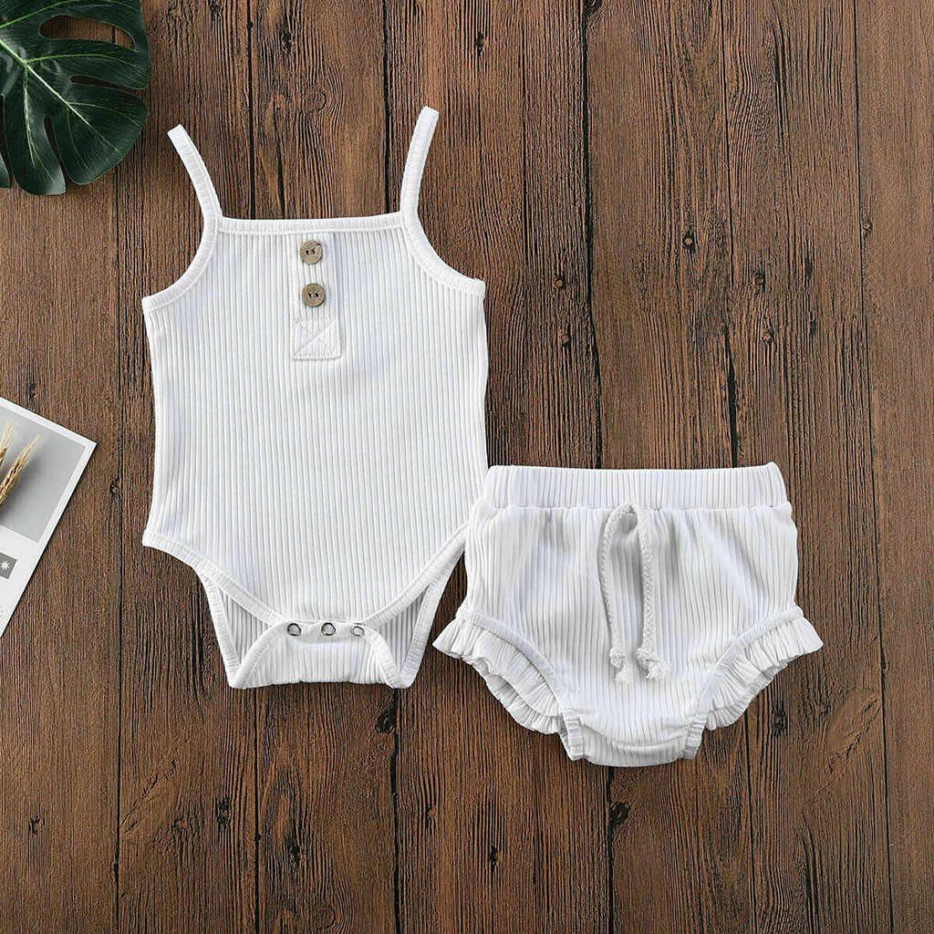 2020 Baby Jongens Meisjes Zomer Kleding Pure Kleur Geribbelde Knop Rompertjes Tops Shorts Broek 2 Stuks Peuter Infant Baby Kleding outfit