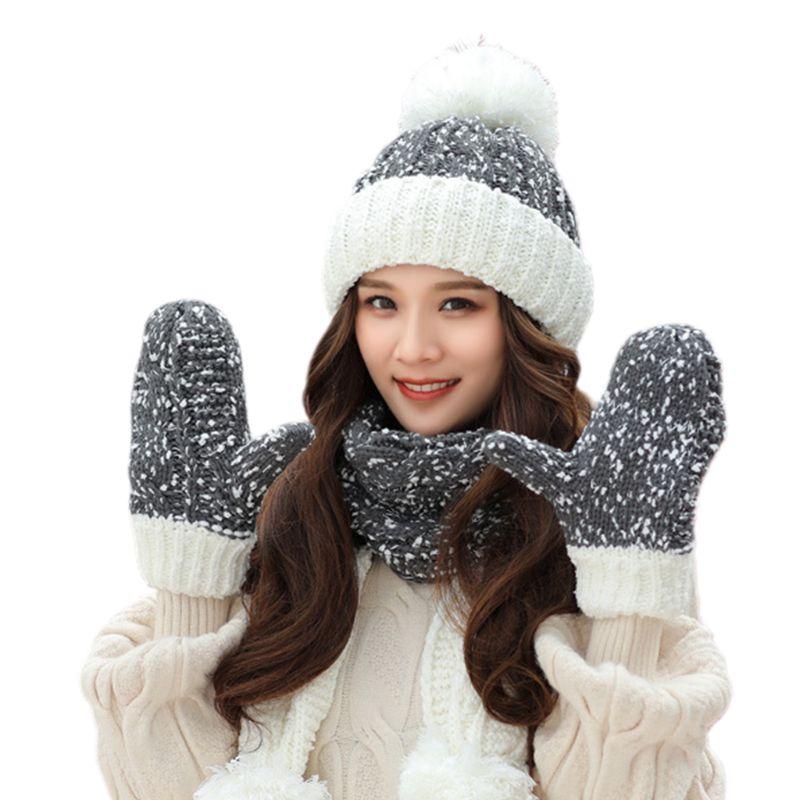 THINKTHENDO 3Pcs Women Winter Chunky Knit Snowflake Color Block Beanie Hat Scarf Gloves Set