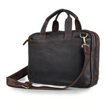 Crazy Horse Leather Men's Dark Brown Briefcase Handbag Laptop Bag Messenger  Bags# 7092R crazy horse leather travel bags handbag men s messenger bag dispatch briefcase fit in 17 inches laptop 7083b
