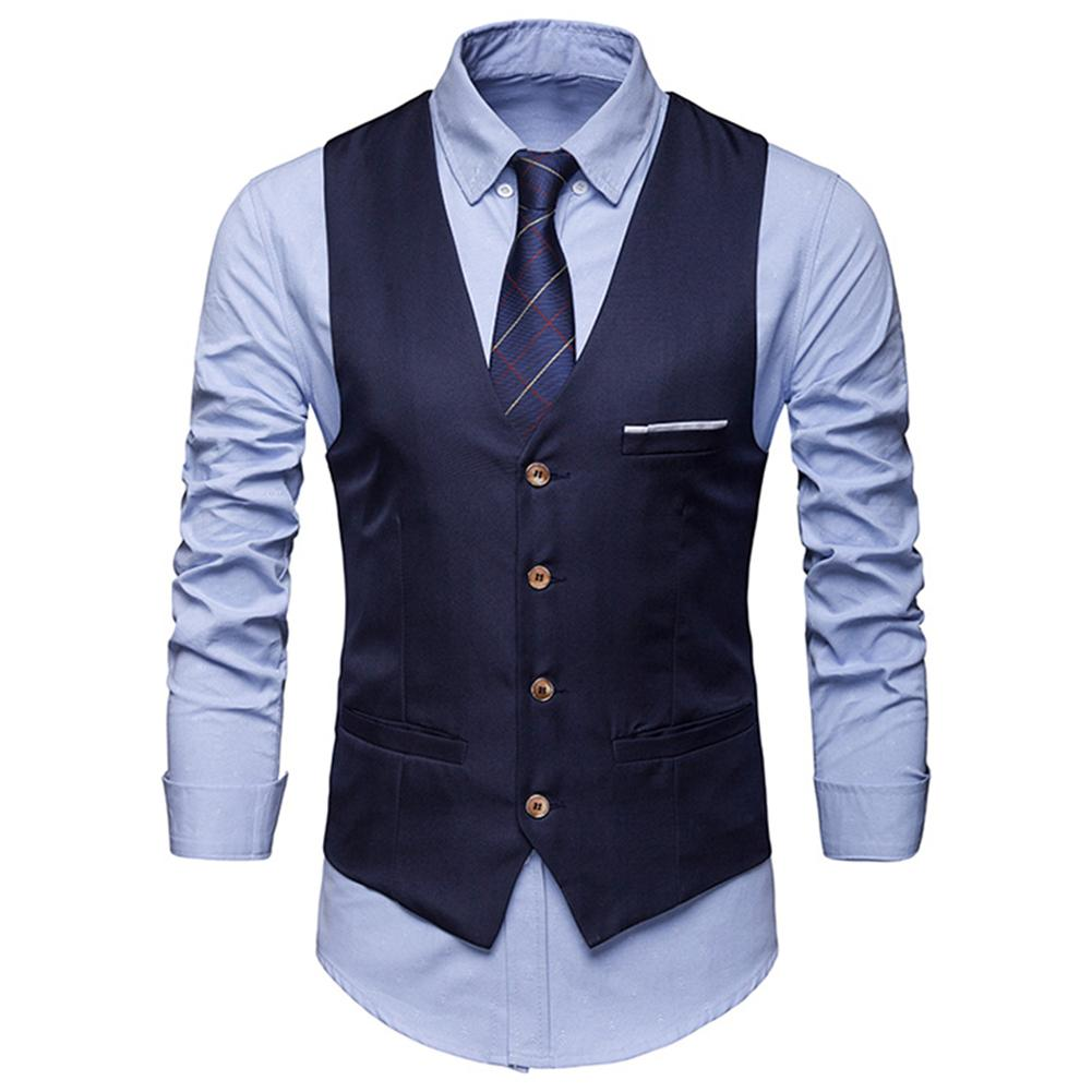 New Plus Size Formal Men Solid Color Suit Vest Single Breasted Business Waistcoat