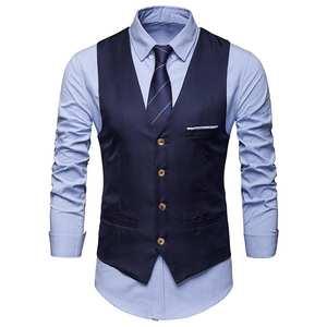 Vest Waistcoat Solid-Suit Business Formal Hombre Single-Breasted Chalecos Para Men Men