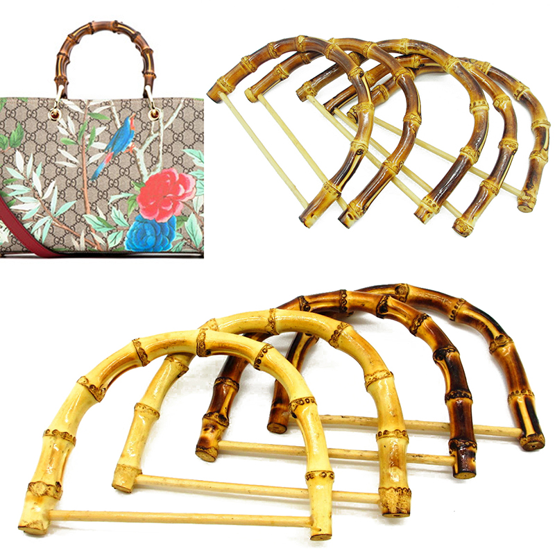 1Pc D Shape Bamboo Bag Handles Handmade Handbag DIY Tote Purse Making Bag Accessories Replacement Fashion Brown Wood Bag Handles