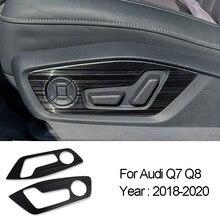 Botões de ajuste do assento da porta do carro painel adesivos capa guarnição para audi q7 q8 2018-2020 de aço inoxidável acessórios interiores automóveis