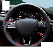 Lsrtw2017 Genuine Leather Car Steering Wheel Cover for Skoda Octavia Superb Kodiaq Karoq Interior Mouldings Accessories bannis genuine leather steering wheel cover for skoda octavia superb 2012 fabia skoda octavia a 5 a5 2012 2013 yeti