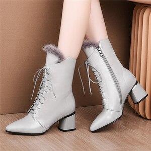 Image 5 - FEDONAS أنيقة النساء الشتاء حفلة موسيقية منتصف العجل الأحذية الدافئة جلد طبيعي عالية الكعب تشيلسي الأحذية عبر تعادل أحذية رقص امرأة