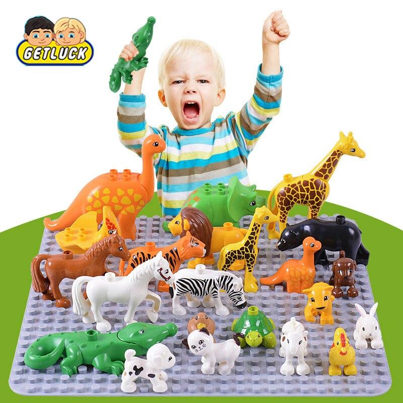 Duplos Animal Model Figures Big Building Block Kids Educational Toys For Children Gift Brinquedos Compatible LegoINGlys Duploed