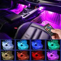 48 LED Luz de pie para coche lámpara de ambiente con Control remoto inalámbrico USB de música múltiples modos automotriz Interior luces decorativas