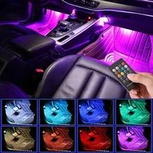 LED 자동차 발 빛 주변 램프 USB 무선 원격 음악 제어, 여러 모드 자동차 인테리어 장식 조명