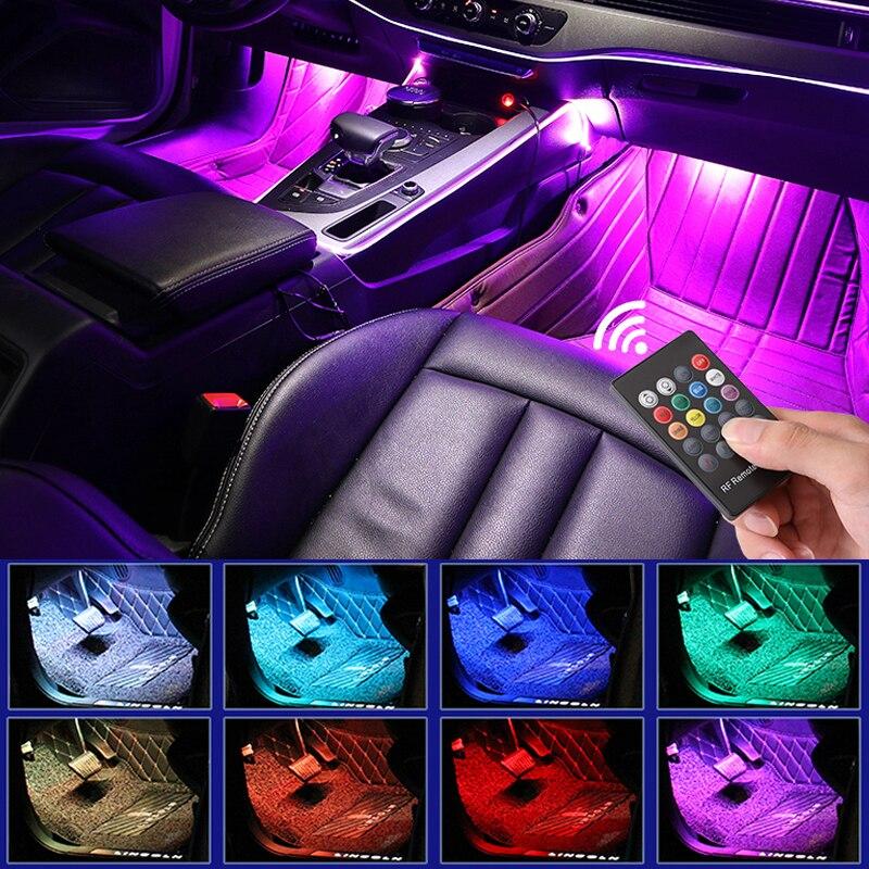 Led carro pé luz ambiente lâmpada com usb controle de música remoto sem fio vários modos automotivo interior luzes decorativas