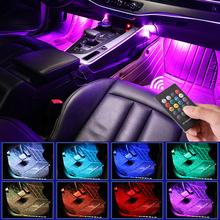 Oświetlenie podłogowe LED do samochodu bezprzewodowa listwa LED z wejściem USB sterowana pilotem a także muzyką z wieloma trybami wyboru kolorów do wnętrza samochodu tanie tanio Niscarda NONE CN (pochodzenie) Lampa atmosfera Car Interior ABS+Silica gel+other 2Pcs 4pcs set 180 Degree emitting 8 modes