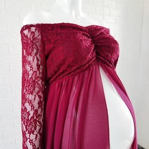 Image 5 - Кружевное платье для беременных Le Couple, длинное платье розового цвета с длинным рукавом для беременных