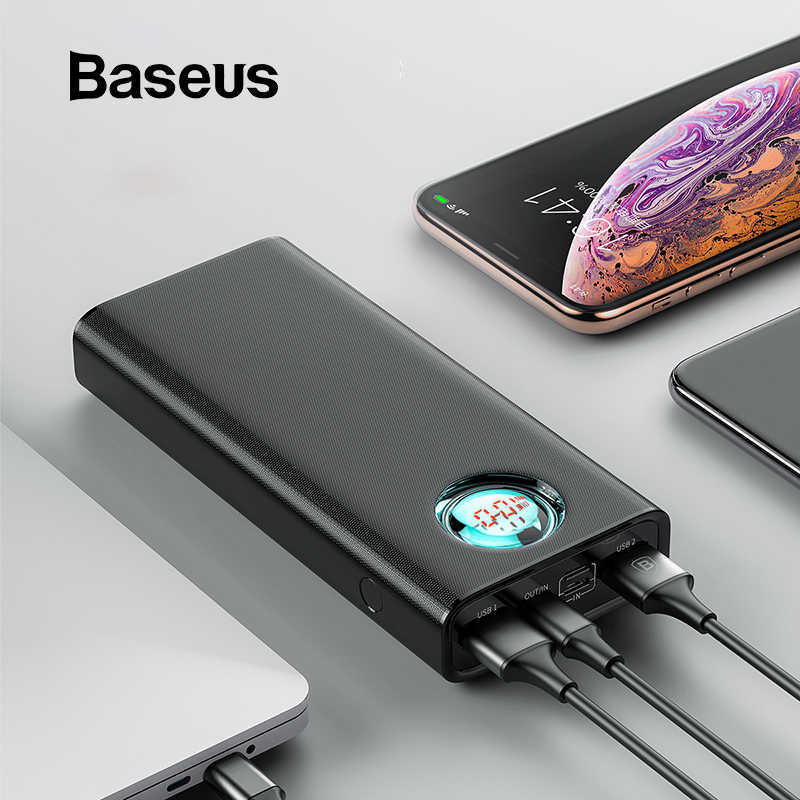 Baseus 20000mAh Power Bank สำหรับ iPhone Samsung Huawei Type C PD Fast Charging + Quick Charge 3.0 USB Powerbank ภายนอกแบตเตอรี่